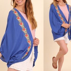 Other - Embroidered Kimono in Cobalt Blue